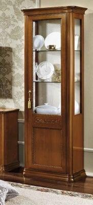 Camel Torriani Day Walnut Italian 1 Right Glass Door Vitrine with LED Light
