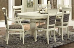 Camel Treviso Day White Ash Italian Oval Extending Dining Table with 4 Chairs and 2 Armchair