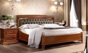 Camel Treviso Night Cherry Wood Italian Capitonne Storage Ring Bed