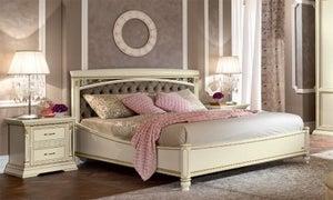 Camel Treviso Night White Ash Italian Capitonne Ring Bed