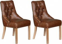 Carlton Additions Stanton Brown Leather Dining Chair (Pair)