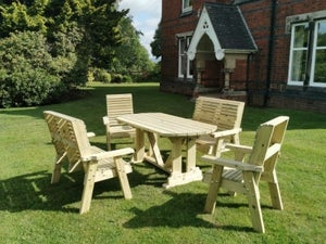 Churnet Valley Ergo Garden Table Set with 2 Chairs and 2 Benches