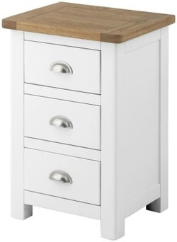 Clearance - Portland White Painted 3 Drawer Bedside Cabinet - New - E-823