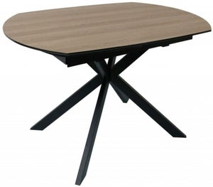 Delta Rustic Wood and Metal Motion Oval 120cm-180cm Extending Dining Table