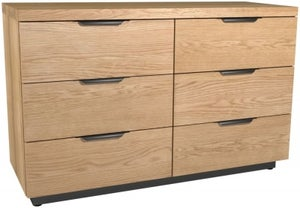 Fusion Oak 6 Drawer Wide Chest