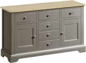 Harmony Oak and Grey Painted 2 Door 6 Drawer Sideboard