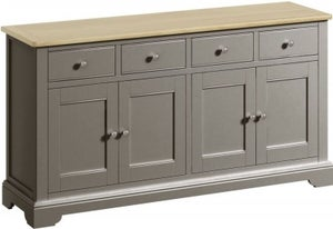 Harmony Oak and Grey Painted 4 Door 4 Drawer Sideboard