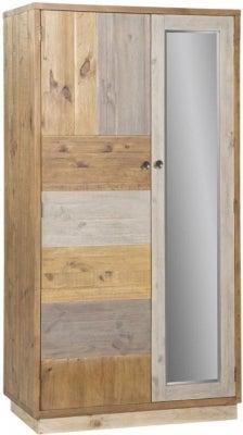 Loft Reclaimed Pine 2 Door Double Wardrobe with Plinth Base