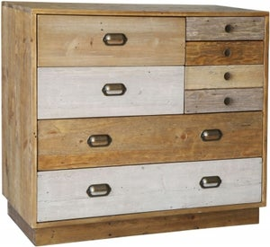 Loft Reclaimed Pine 7 Drawer Chest with Plinth Base