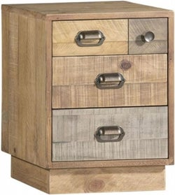 Loft Reclaimed Pine Bedside Cabinet with Plinth Base