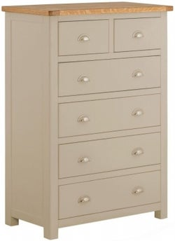 Portland Pebble Painted 2 Over 4 Drawer Chest