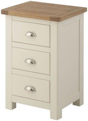 Portland Cream Painted 3 Drawer Bedside Cabinet