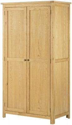 Portland Oak 2 Door Double Wardrobe