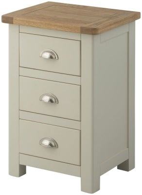 Portland Stone Painted 3 Drawer Bedside Cabinet