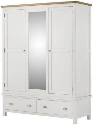 Portland White Painted 3 Door Triple Wardrobe