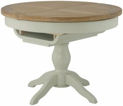 Portland Stone Painted Grand Round Single Pedestal Butterfly Extending Dining Table