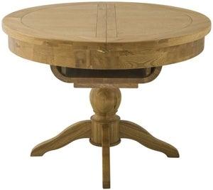 Portland Oak Grand Round Single Pedestal Butterfly Extending Dining Table