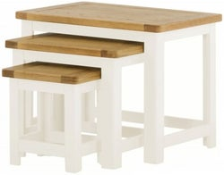 Portland White Painted Nest of 3 Tables