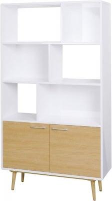 Portofino White and Oak Bookcase