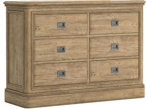 Versailles Oak 3 Over 3 Drawer Wide Chest