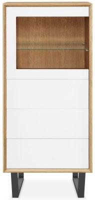 Clemence Richard Modena Oak 1 Door Combi Display Cabinet