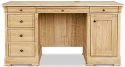 Clemence Richard Moreno Oak Double Pedestal Desk