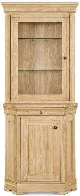 Clemence Richard Moreno Oak 2 Door Corner Display Cabinet