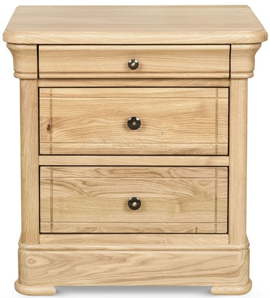 Clemence Richard Moreno Oak 3 Drawer Bedside Cabinet