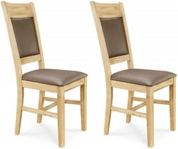 Clemence Richard Oak Leather Seat and Back Dining Chair (Pair) - 014