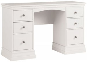 Corndell Annecy White Painted Double Pedestal Dressing Table