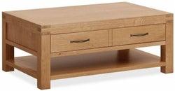 Corndell Sherwood Ructic Oak 2 Drawer Coffee Table