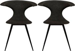 Clearance - Dan Form Flair Crow Black Fabric Dining Chair (Pair) - New - E-635