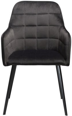 Dan Form Embrace Meteorite Black Velvet Armchair