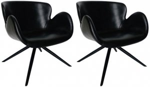 Dan Form Gaia Vintage Black Faux Leather Dining Chair (Pair)