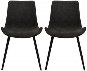 Dan Form Hype Crow Black Fabric Dining Chair (Pair)