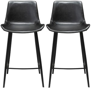 Dan Form Hype Vintage Black Faux Leather Counter Stool (Pair)
