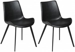 Dan Form Hype Vintage Black Faux Leather Dining Chair (Pair)