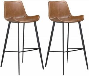 Dan Form Hype Vintage Light Brown Faux Leather Bar Stool (Pair)