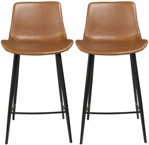 Dan Form Hype Vintage Light Brown Faux Leather Counter Stool (Pair)