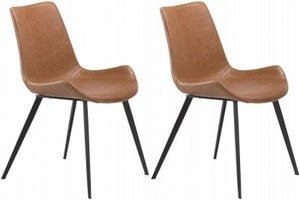 Dan Form Hype Vintage Light Brown Faux Leather Dining Chair (Pair)