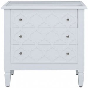 California White 3 Drawer Chest with Mirrored Top