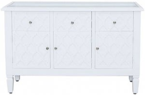 California White Sideboard with Mirrored Top