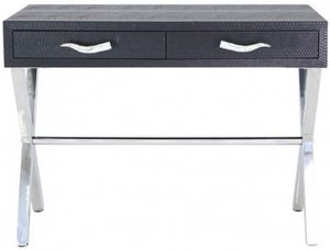 Lecco Black Faux Snakeskin Console Table
