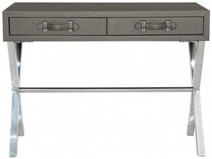 Lodi Grey Faux Leather Console Table