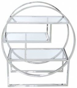 Prong Glass and Chrome Shelving Unit