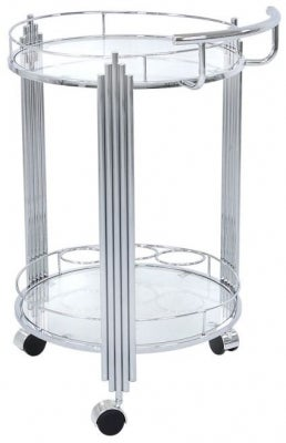 Grambling Glass and Chrome Drinks Trolley