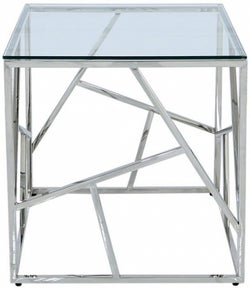 Haslemere Glass and Chrome Square End Table