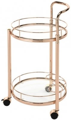 Haxby Drinks Trolley - Rose Gold and Clear Glass