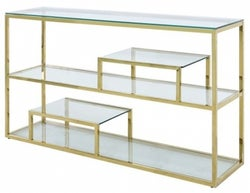 Hermon Tier Glass and Gold Console Table