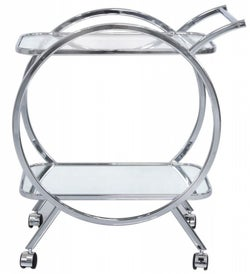 Hermon Mirrored and Chrome Drinks Trolley